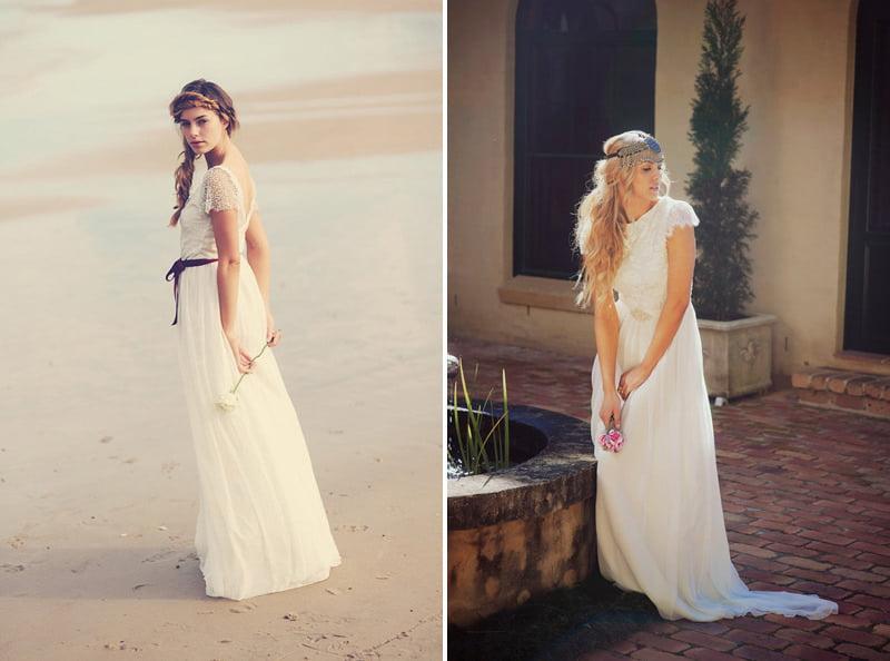 Beaded Chiffon Lace Bohemian Laidback Wedding Dress Grace