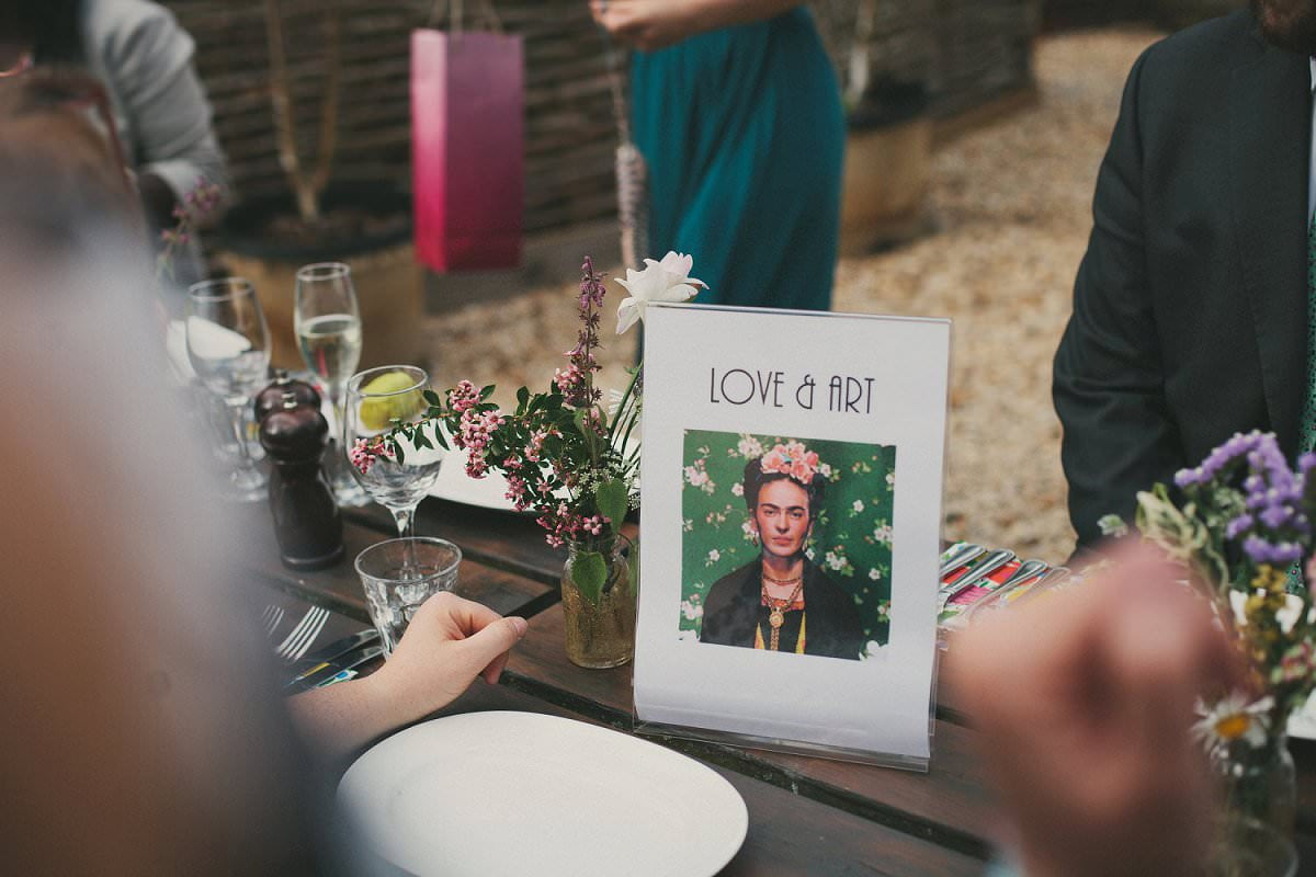 frida kahlo Love & Art Table Name at Wedding in The Perch Oxford