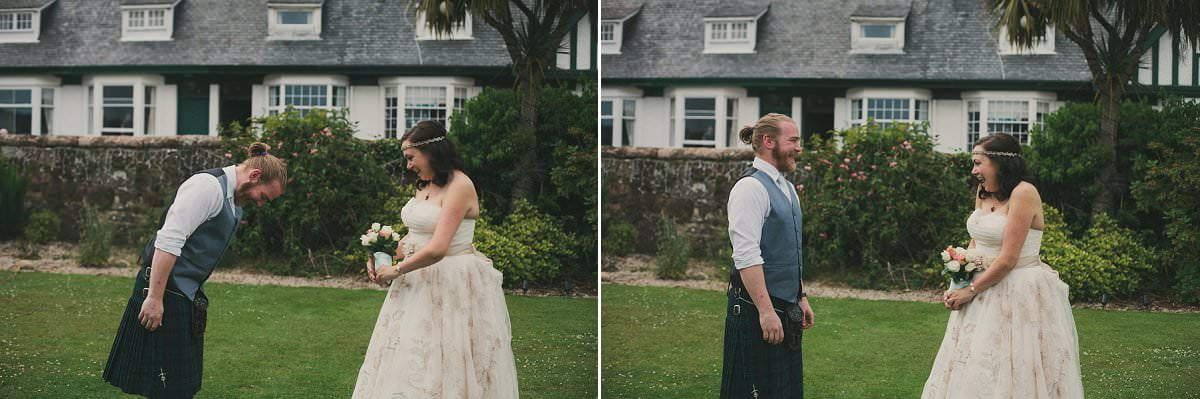 Bride and groom first look at wedding elopement at Glenisle Hotel on The Isle of Arran Scotland