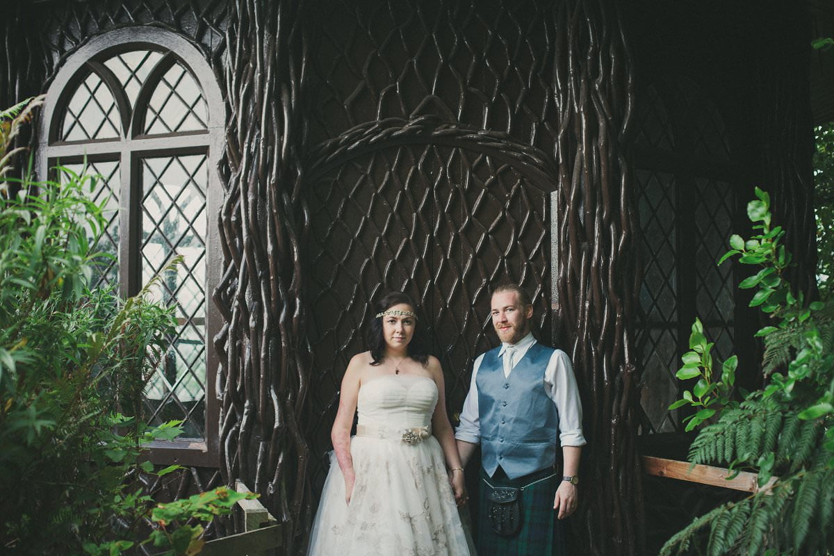 Bride and groom in Brodick Castle The Isle of Arran Scotland during elopement wedding