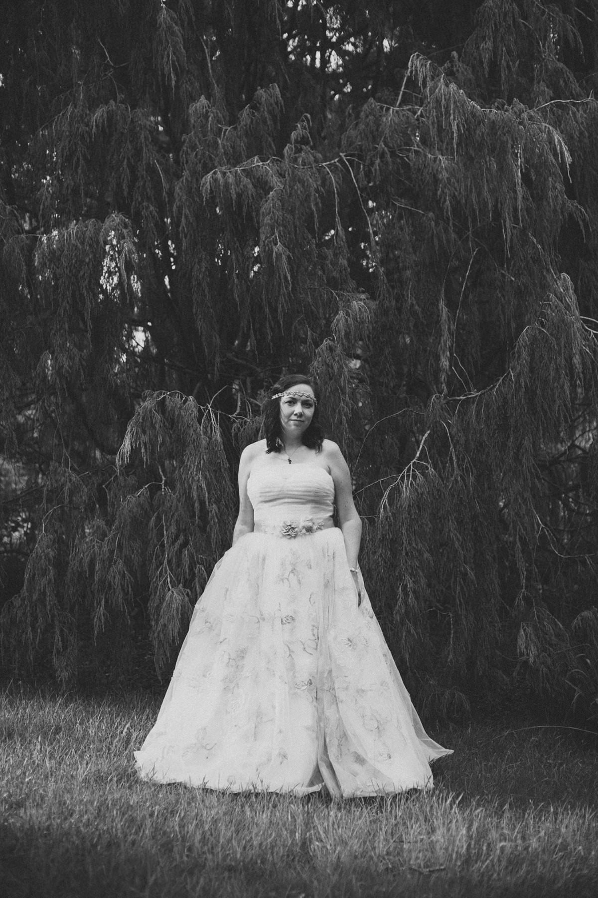 Black and white Bride in Brodick Castle The Isle of Arran Scotland during elopement wedding