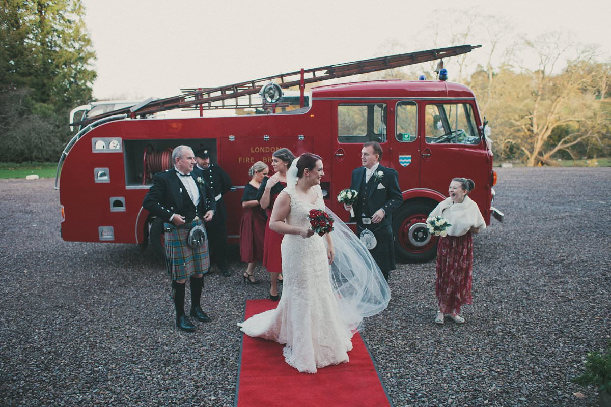 bride by fire engine wedding transport oxenfoord castle