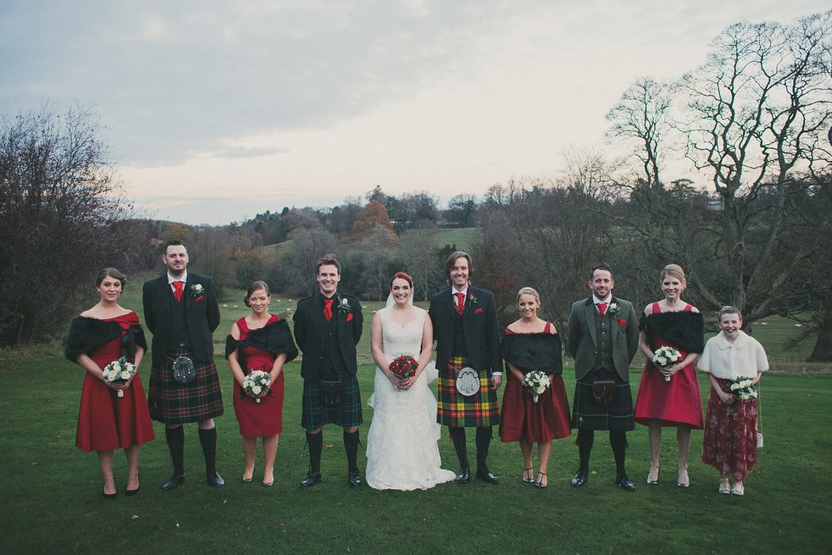 bridesmaids groomsmen oxenfoord castle wedding photography
