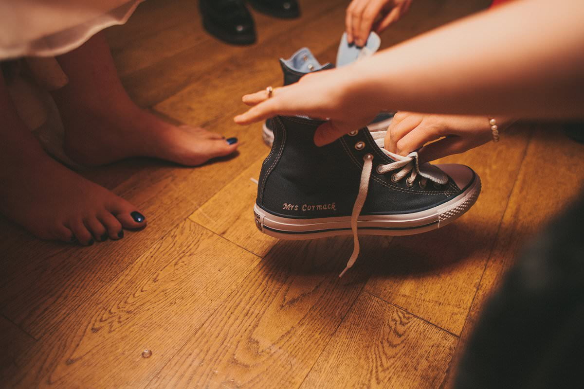 customised converse for bride oxenfoord castle wedding