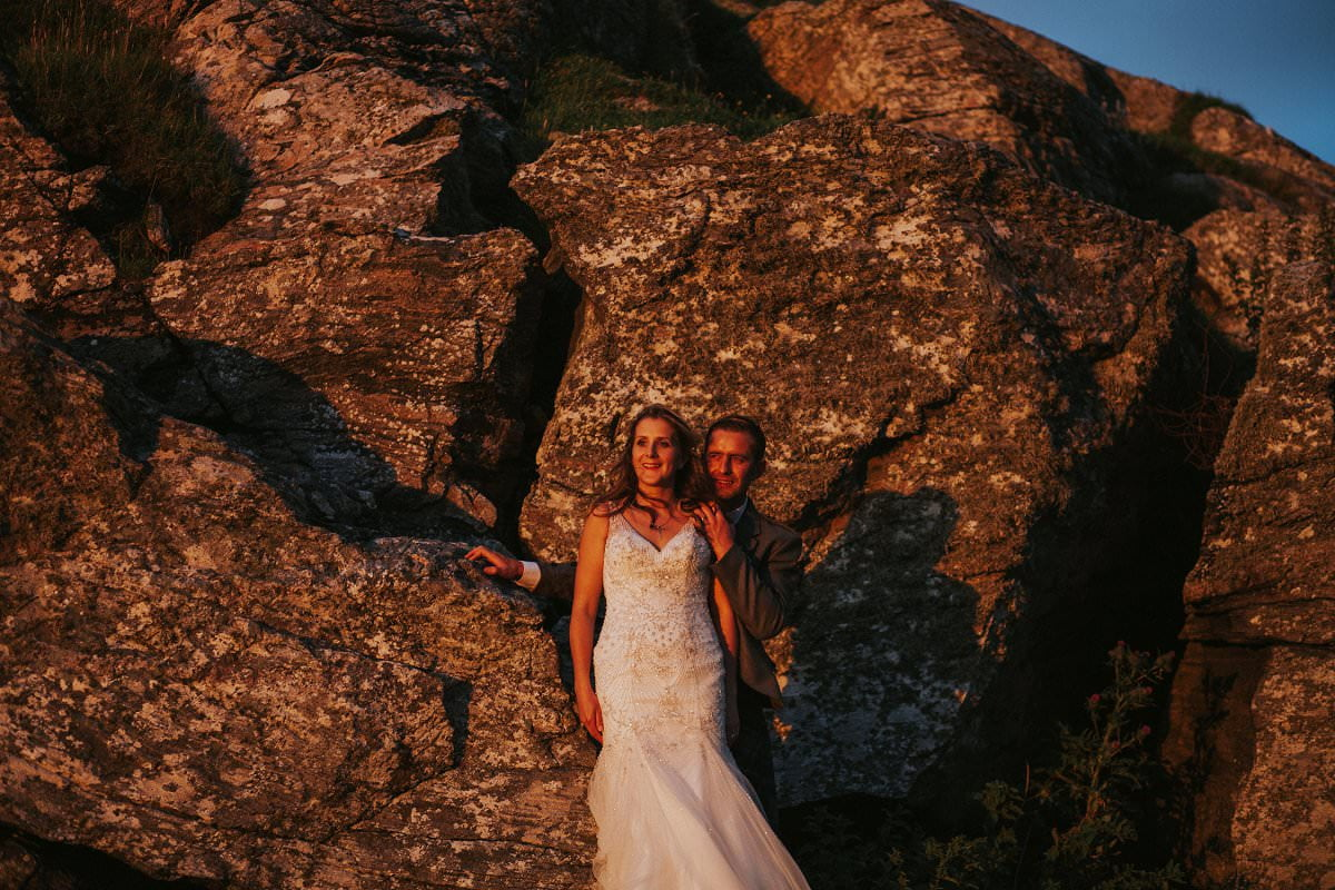 bride groom sunset colour portraits