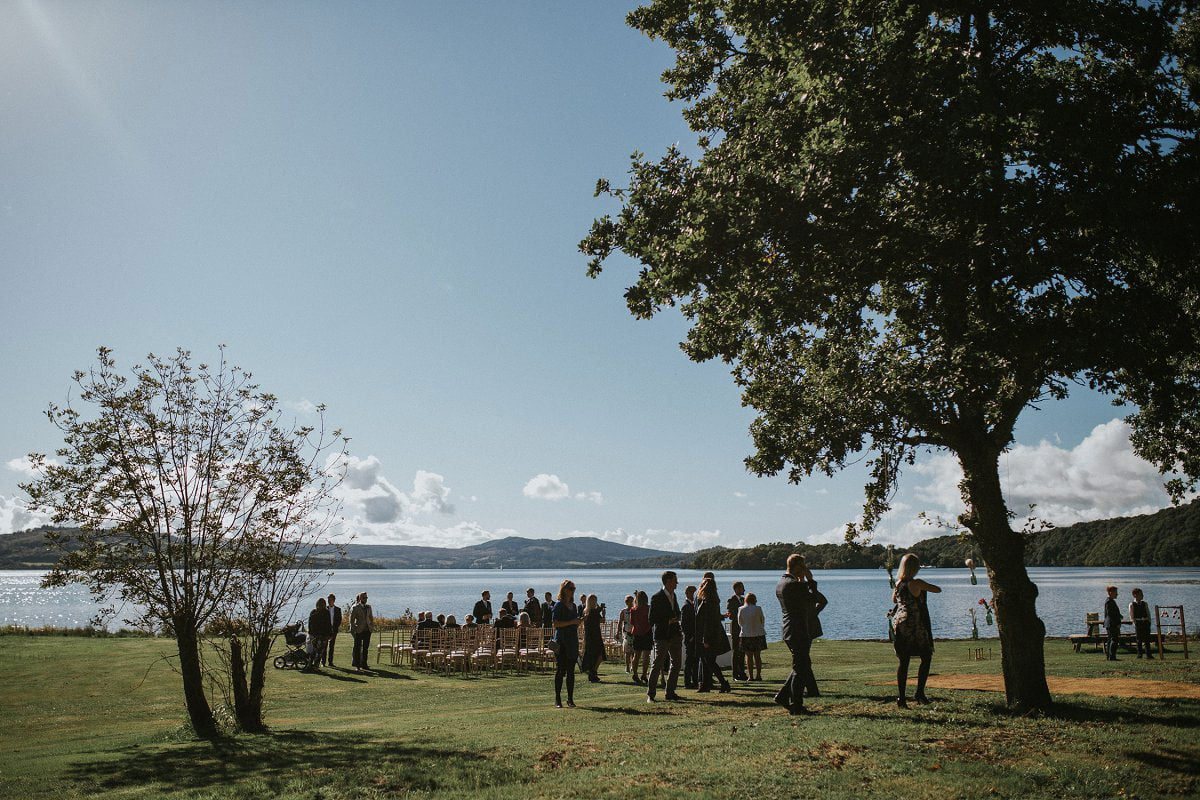 loch lomond waterfront wedding ceremony set up