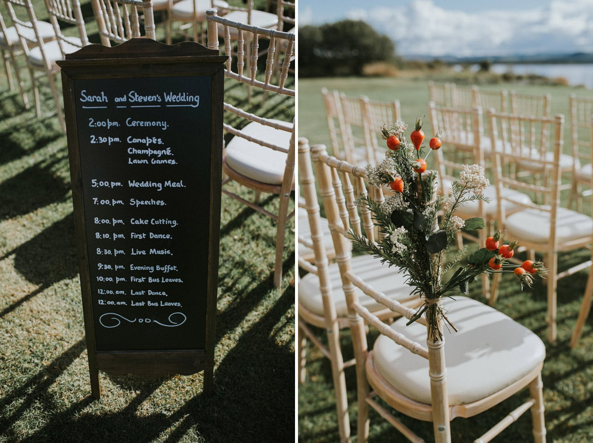 rustic autumn flower chair wedding