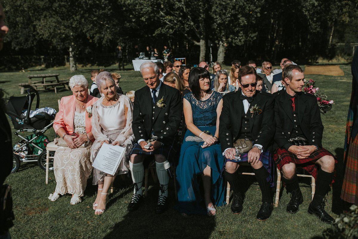 wedding guests outdoor ceremony scotland