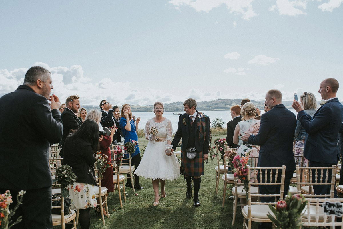 bride groom up aisle outdoor loch ceremony