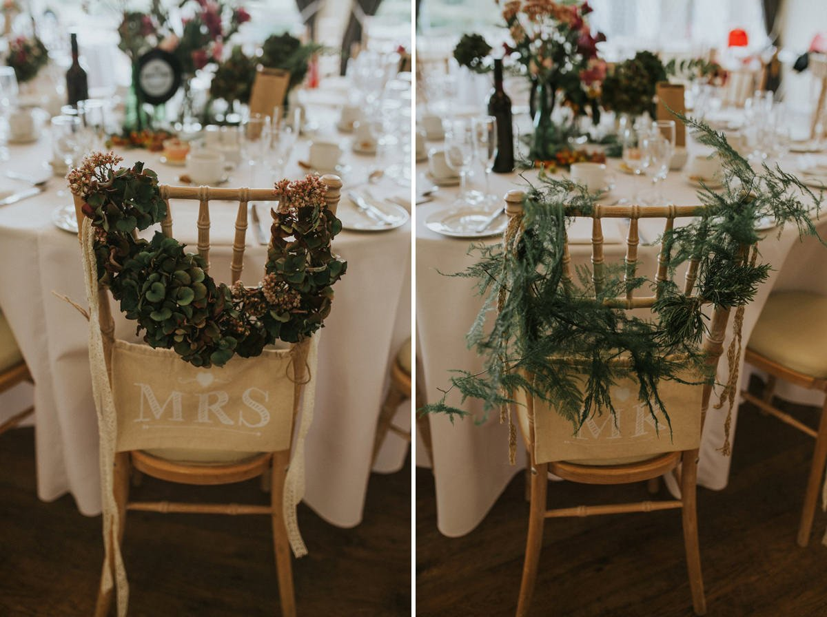 Mr Mrs wedding chair flowers