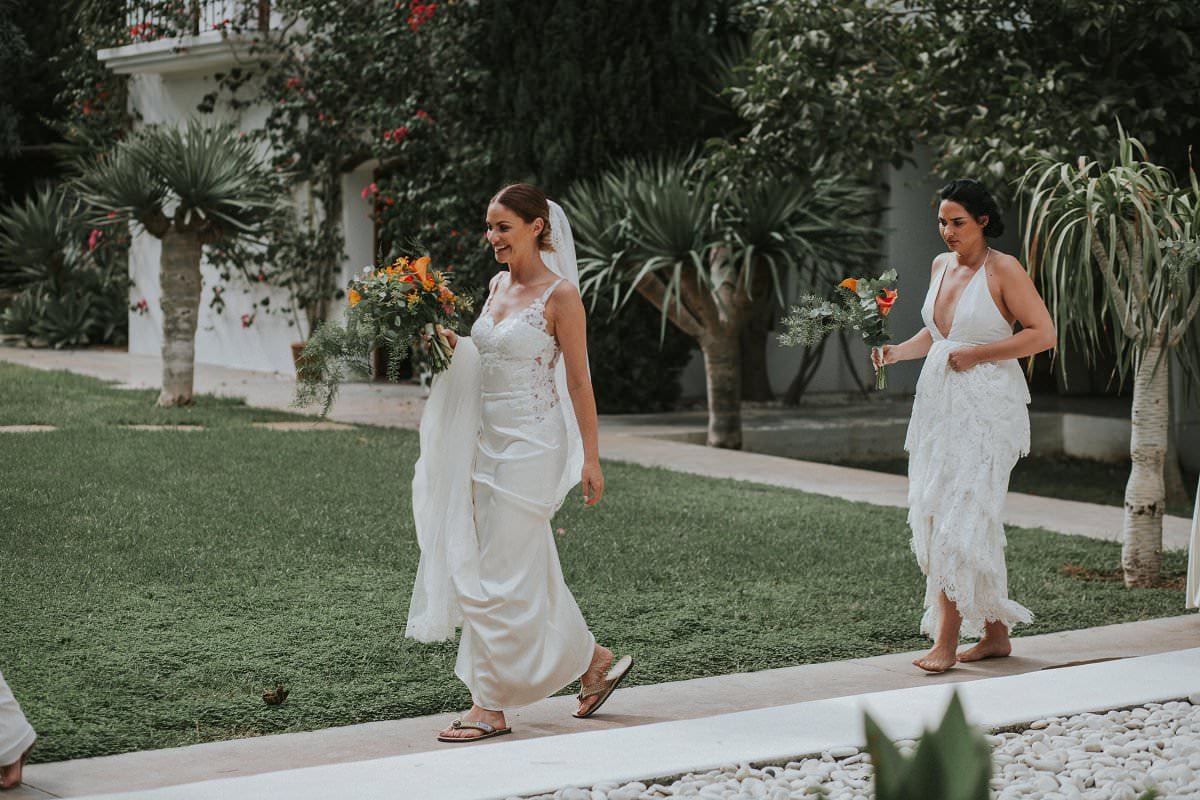 bride in Watters cora dress walking