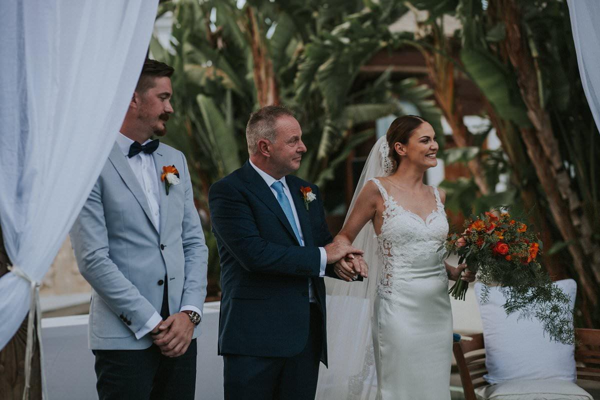 bride with father destination wedding