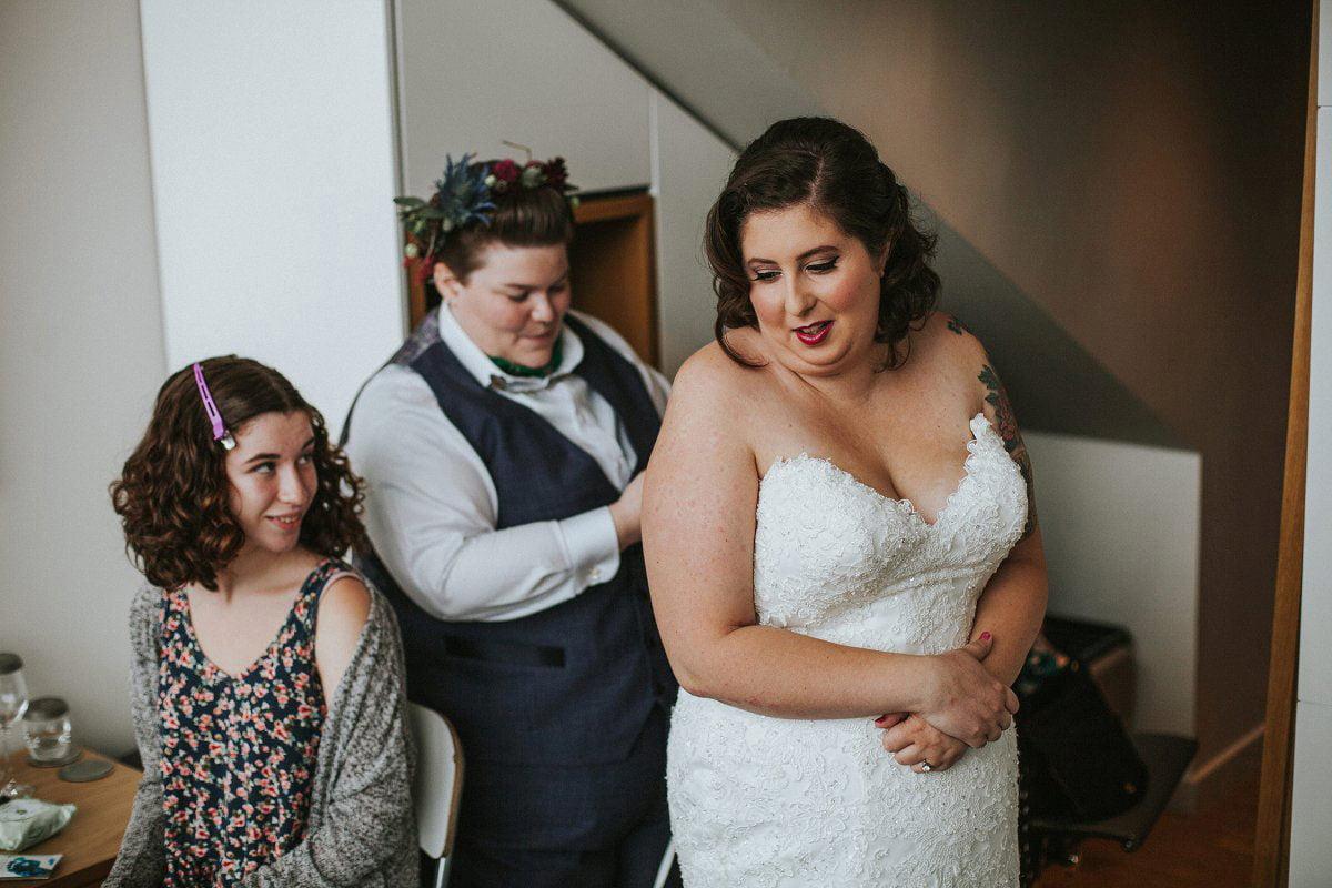 getting ready together wedding