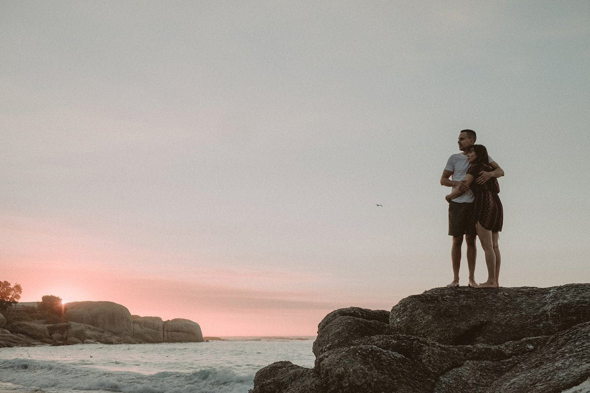 sunset wedding photography clifton beach