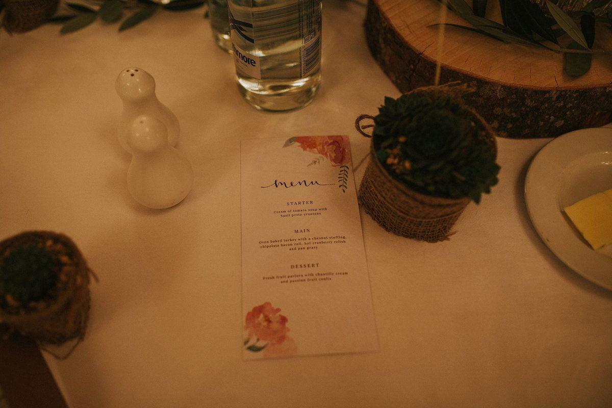 fine art wedding menu