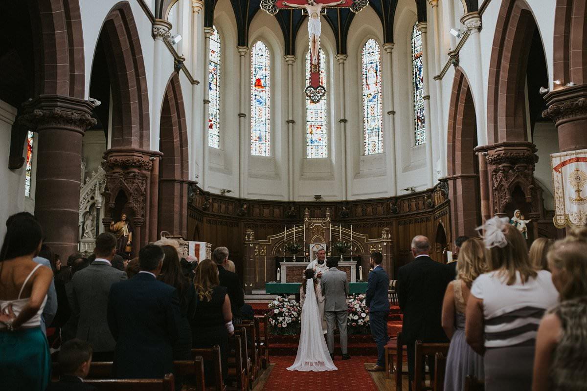 vintage bride veil church