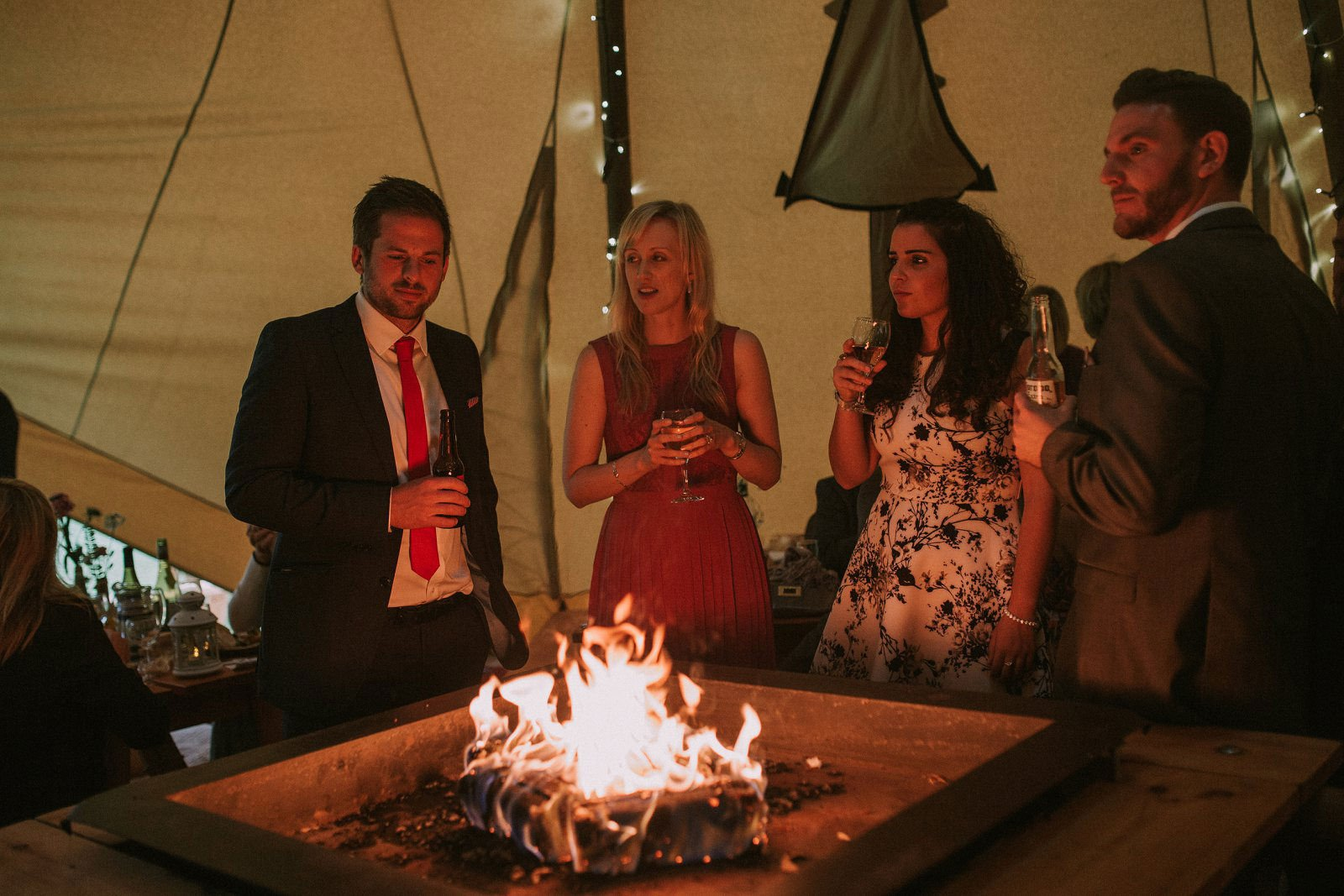tipi wedding fire