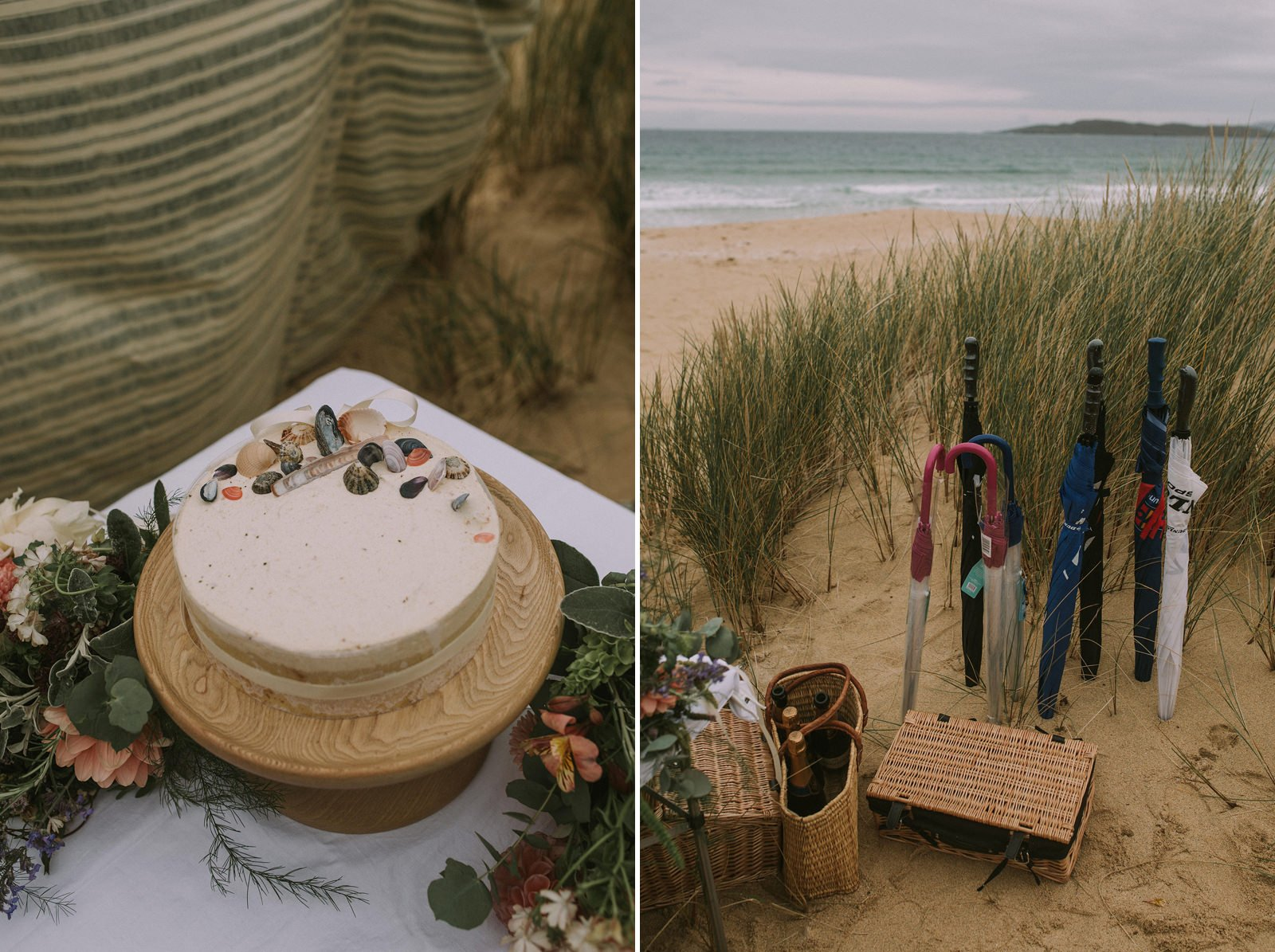 shell decorated beach wedding cake