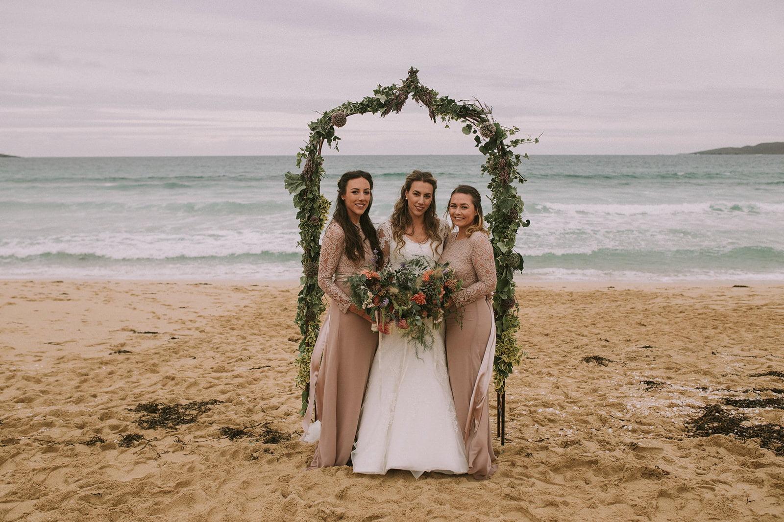 rustic bridesmaids beach wedding