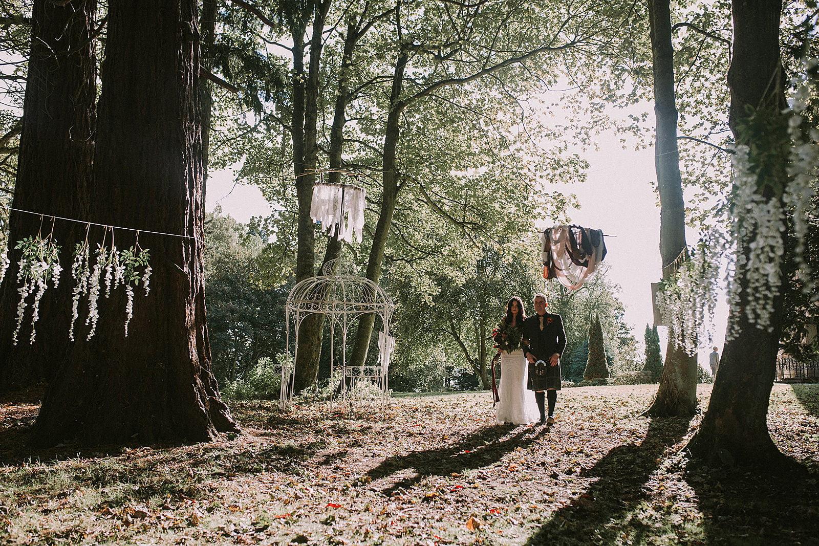 woodland wedding bride scotland